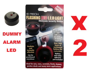 2 x E-Tech Flashing Red LED Twin Pack Dummy Alarm To Deter Thieves