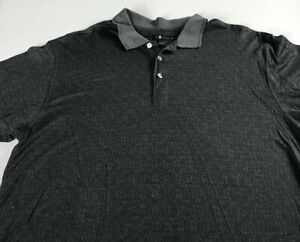 Tiger-Woods-Polo-Shirt-Mens-Medium-Gray-Black-Nike-Golf-Cotton-Casual-Guys-Top