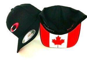 OAKLEY TINCAN FLAG CANADA BLACK MEN'S HAT CAP FOS900115 Size S/M,L/XL NWT