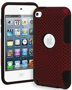 For-iPod-Touch-4th-Generation-HARD-amp-SOFT-SILICONE-CASE-COVER-RED-BLACK-MESH