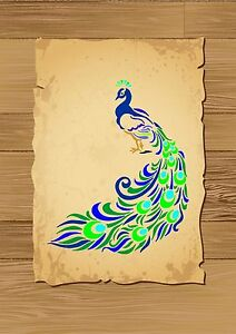 Impressive-Peacock-amp-his-Tail-Stencil-350-micron-Mylar-not-thin-stuff-Bird028