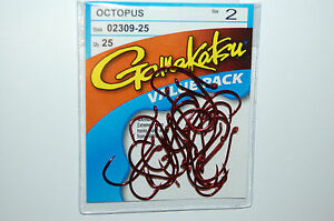Gamakatsu Octopus Crochet Rouge Taille 2 25 per Value Pack 02309-25 polyvalent Crochets
