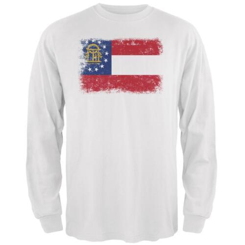 Born and Raised Georgia State Flag Mens Long Sleeve T Shirt