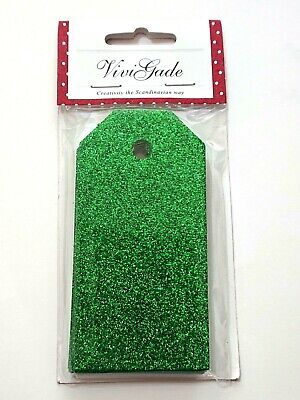 15 Green Luxury Glitter 10cm Tags for Crafts /& Gift Wrapping