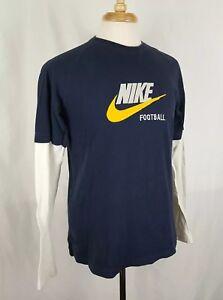 NIKE Football Sz L T-Shirt L/S Navy