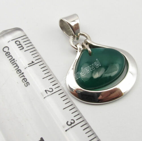 "925 Solid Silver Green Onyx Pendant 1.1/"" 3.9 Grams New Wholesale Jewelry"