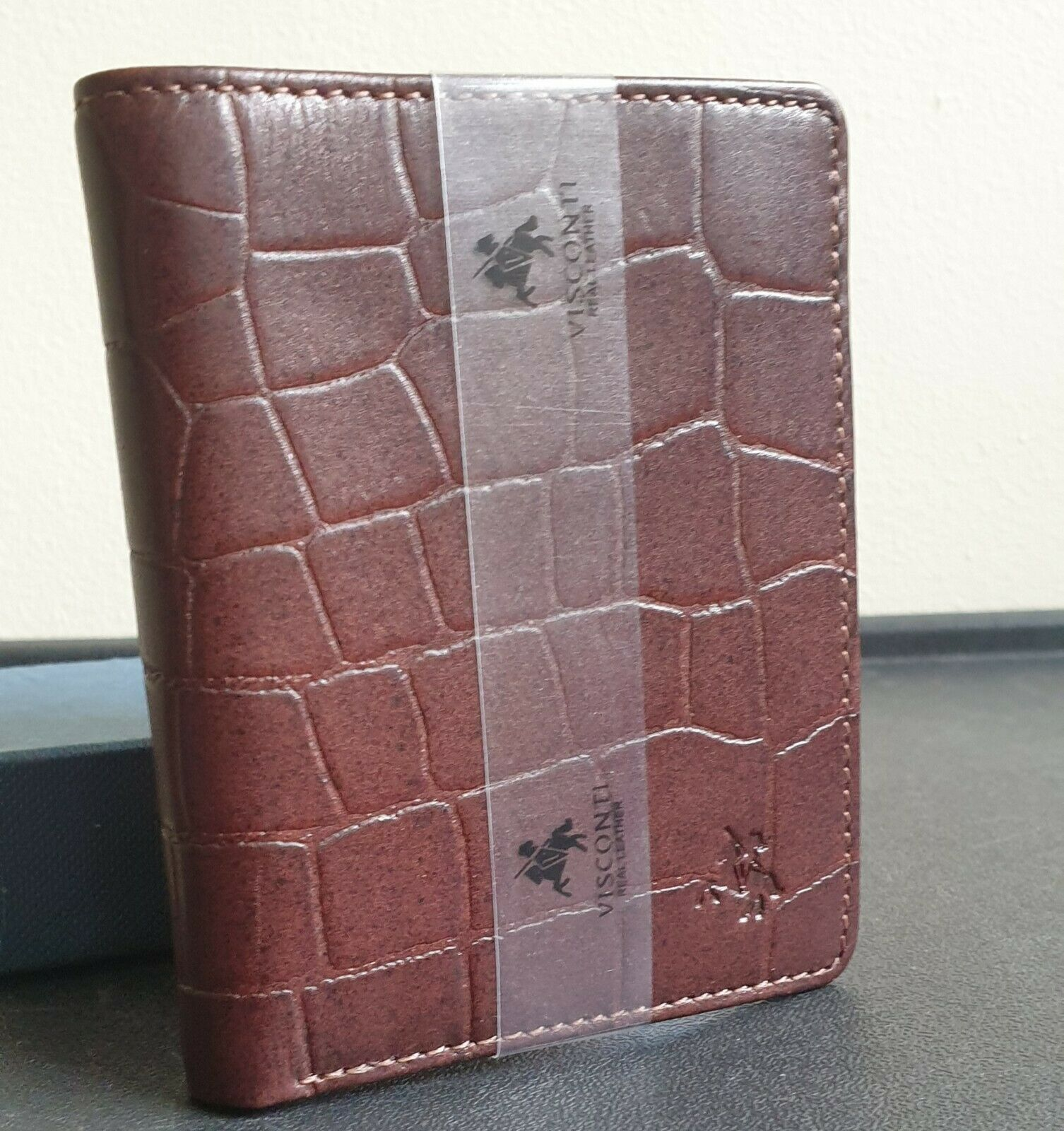 Visconti Real Crocodile Leather Brown RFID Credit Card Wallet - New & Boxed