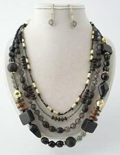 FOUR LAYERS BLACK LUCITE WITH WOOD BEAD SILVER TONE NECKLACE EARRING SET