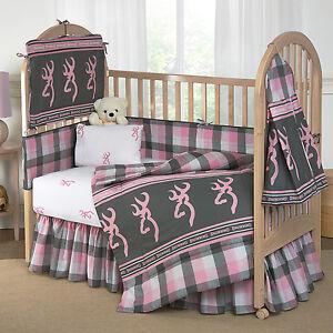 Girls Browining Plaid Bedding Crib Set 8 Pcs Comforter