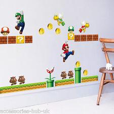 SUPER MARIO BROS Wall Stickers Removable Decal Kids Boys Nursery Play Room Decor