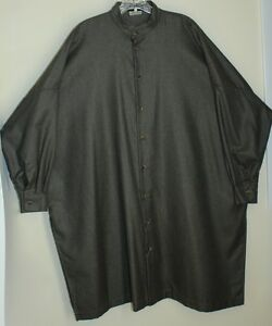 42e517be25c15 Eskandar ~ Sz 1 Lux Cashmere Silk Flannel Olive Green Tunic Top ...