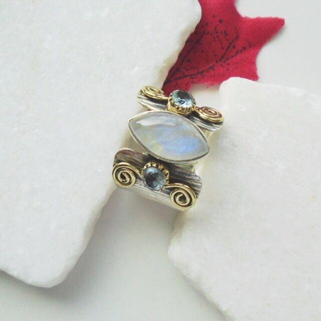 Mondstein Blautopas blau weiß gold Design Ring, Ø 17,75 mm, 925 Sterling Silber