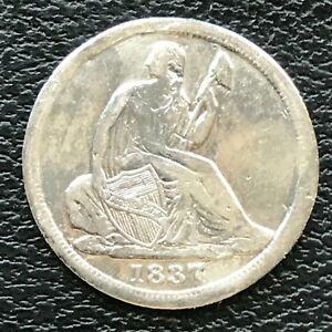1837 Seated Liberty Half Dime 5c High Grade AU Details #13774