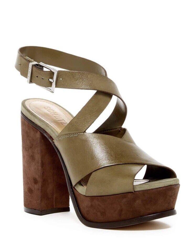 NIB Schutz Marilla Platform Sandal OGCM Comfrey Brown Green SZ 8 $220