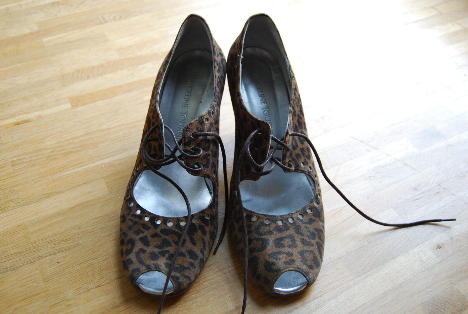 ANGELINE TOURNIER leather peep toe animal Silber leopard pin up up up heels schuhe UK5 e7e437