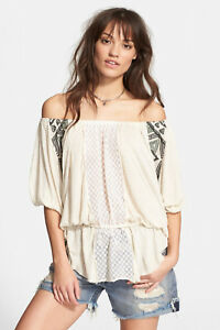 593cccef0bf Free People 'New World' Off the Shoulder Butterfly Tunic in IVORY (L ...