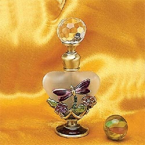 Collectible Jeweled Dragonfly Perfume Bottle Fragrance Container Decoration