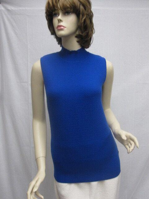 St John Knit Nuevo Con  Etiquetas Color Azul Zafiro Cashmere Shell Top Talla M  395  promociones
