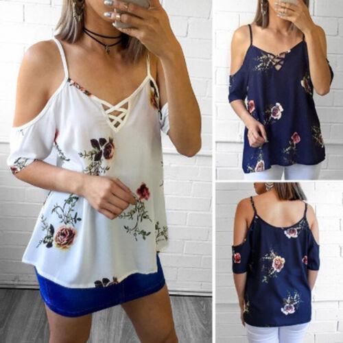 Damen Schulterfrei Bluse Blumen Hemdbluse Kurzarm Sommer T-Shirt Tunika Oberteil