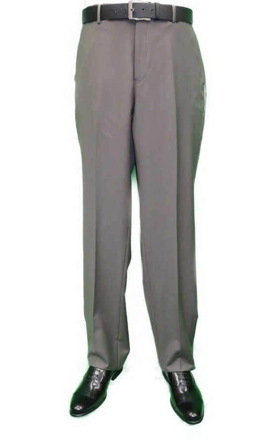 Men's Mantoni Flat Front Pants All Wool Super 140's Classic Fit 40901 Taupe