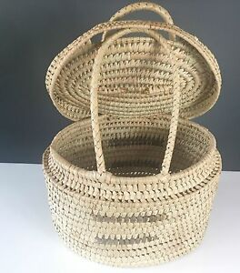 Details About Zambian African Tribal Art Extra Large 17 Woven Basket Container W Lid