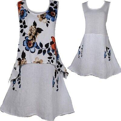 2tl Leinen Sommer Tunika Twinset Kleid Lagenlook 44 46 48 50 52 L Xl Xxl Strand