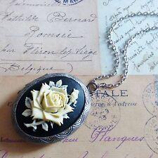 Victorian Vintage Enorme Nero Cammeo rosa color Crema Antico medaglione collana d'argento