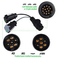 13 Pin to 7 Pin Trailer Adaptor Extension Lead Socket Plug Caravan Towing Cable