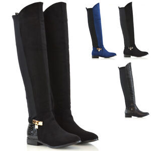 Womens-Over-The-Knee-High-Flat-Low-Heel-Ladies-Stretch-Calf-Leg-Zip-Casual-Boots