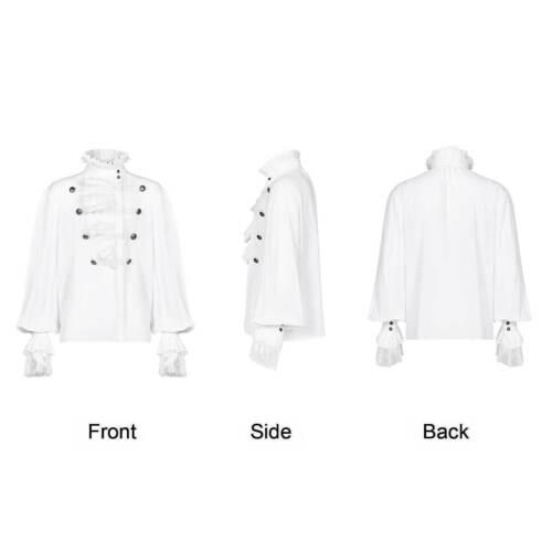 Punk rave gothic rueschen Camicia Uomo Bianco Vampyre RUFFLE Lace Shirt White
