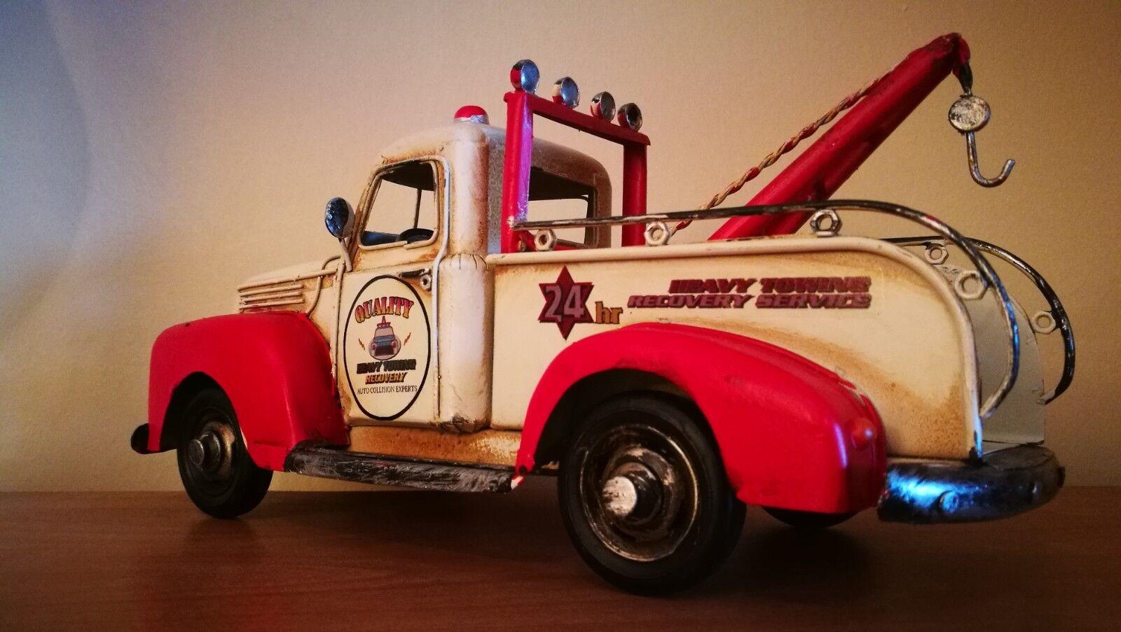US Abschleppwagen TAKELWAGEN Oldtimer Blechauto Blech Modellauto 50er 60er Jahre Blechspielzeug