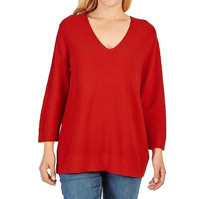 Via Appia Due Damen Pullover Mode 34 Arm V Ausschnitt 100% Baumwolle Uni rot | eBay