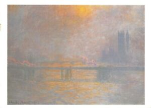 Art-Postcard-Charing-Cross-Bridge-The-Thames-1903-by-Claude-Monet-54R