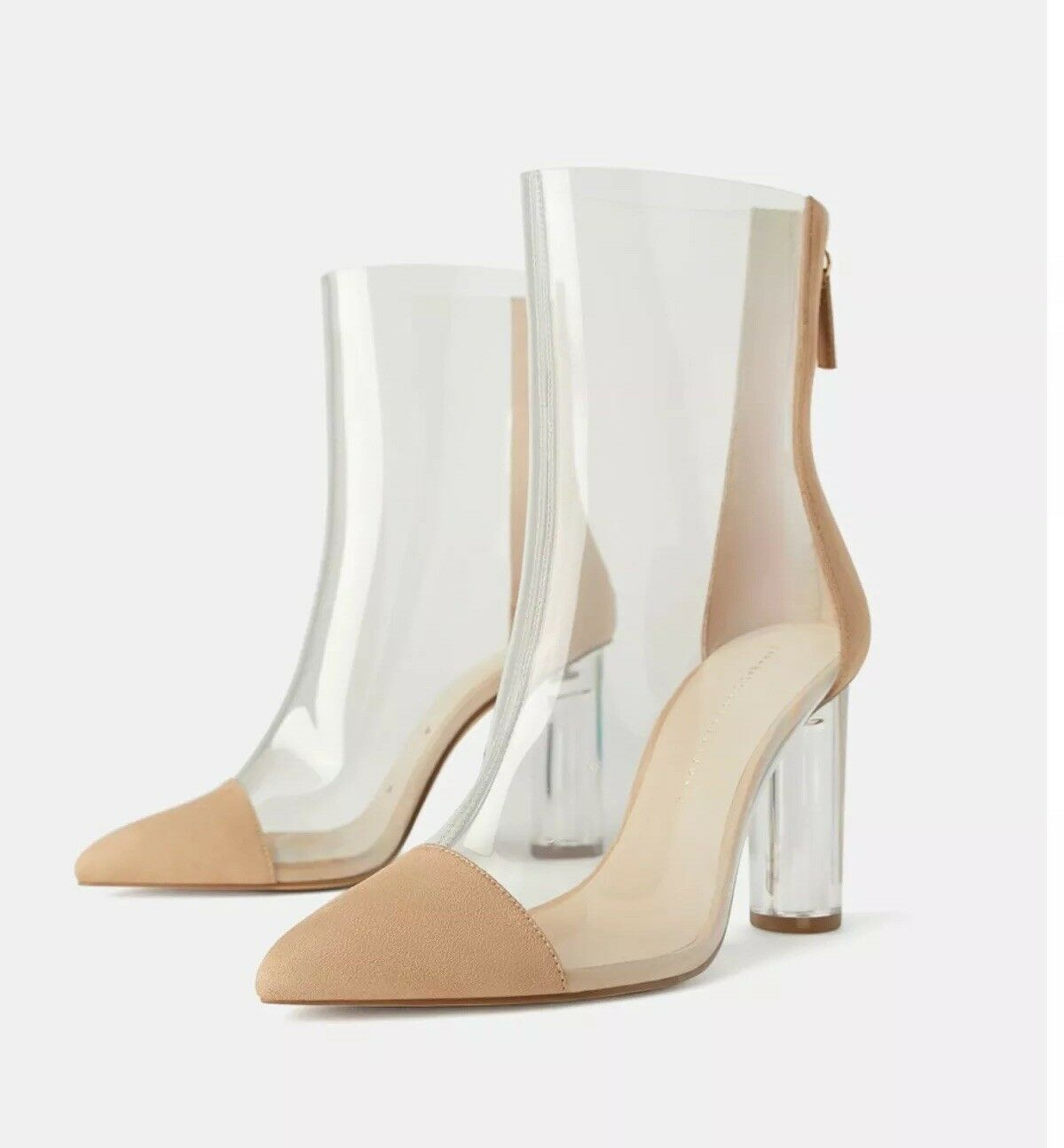 New Zara Natural Beige Heeled Transparent Vinyl Ankle Boots SZ 6.5