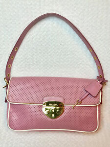 d22a3c316a5a Image is loading Auth-Prada-Pink-Perforated-Saffiano-Leather-Shoulder-Bag-