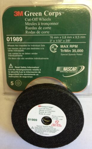 """5 Pc In A Pack 3M 1989 Green Corps Cut Off Wheel 3/"""" X 1//32/"""" X 3//8/"""""""