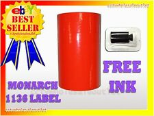 Fluorescent Red Label For Monarch 1136 Pricing Gun 1 Sleeve8rolls