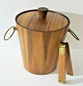Mid-Century-Modern-Vintage-Wood-Ice-Bucket-Teak-Wood-Lined-With-Tongs-Brand-KMC