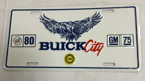 Vtg Vanity License Plate~BUICK CITY 80 GM 75 ANNIVERSARY UAW 599 FLINT MI~NOS~