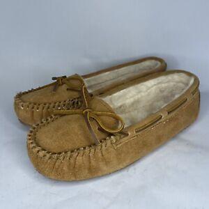 Women's Minnetonka Britt Trapper Faux Fur Moccasin Driving Slippers Shoes 8M