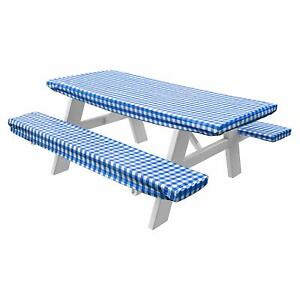 Homecrate Checkered 72 Inch Picnic Table And Bench Fitted