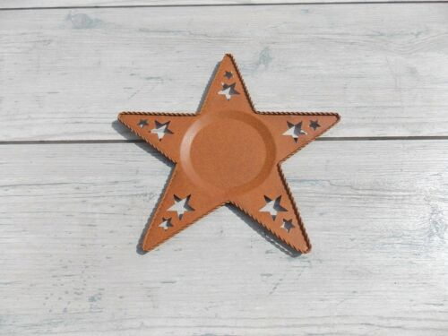 Rust Colored  Star Shaped  Pillar Candle Plate 8in