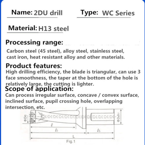 For WCMX05 Inserts 1P C32-3D28-WC05 U drill indexable drill