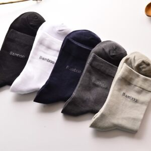 Hommes-Bambou-Soft-Fiber-Chaussettes-Casual-Business-Anti-bacterial-Deodorant-Respirant