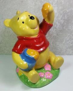 winnie the pooh ceramic bank honey jar flowers disney licensed by