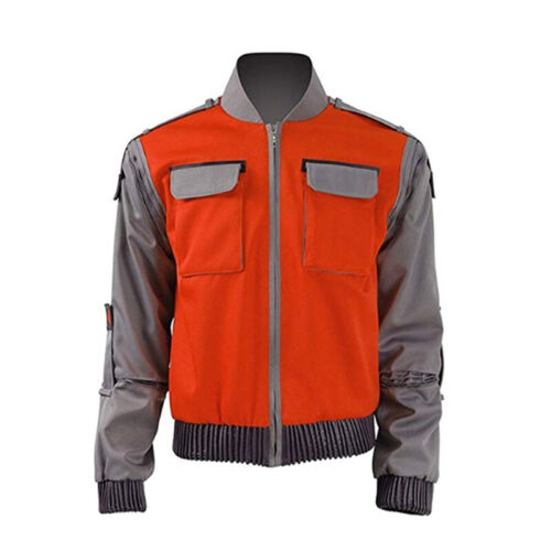 Back To The Future Marty Jacket Men Baseball Coat Cosplay Costume Red Orange New