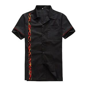 Mens Cotton Flame Panel Rockabilly Hiphop Vintage Club Plus Size Casual Shirts