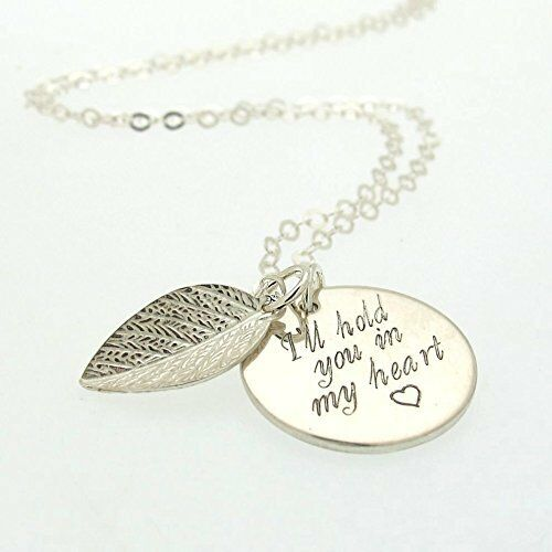 Valentines Day Gift - Custom Coin Pendant - Sterling Silver Leaf - Gift for her