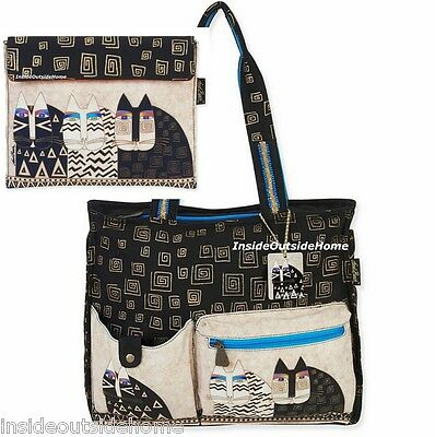 Laurel Burch Wild Cats Lg Shoulder Tote Bag + Tablet Case Black White Greek Key