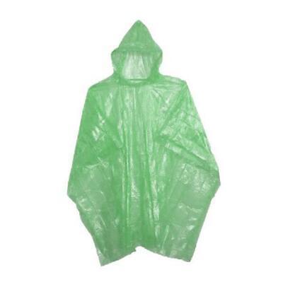Adult Raincoat Waterproof Plastic Disposable Rain Poncho Hood Ladies Mens